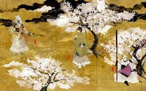 Picture weapons, Sakura, kimono, guys, flowering, touken ranbu, tsurumaru kuninagas, mikazuki munechika, kogitsunemaru, ichigo hitofuri