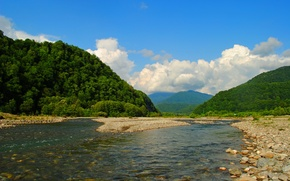 Picture mountains, river, Russia