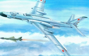 Picture the plane, rocket, bomber, BBC, Soviet, Tu-16, heavy twin-engine jet multipurpose