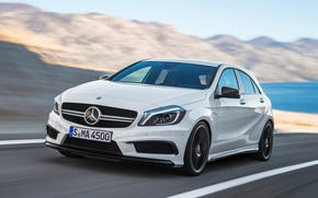 Picture road, movement, Mercedes-Benz, speed, AMG, Hatchback, 2014, A45