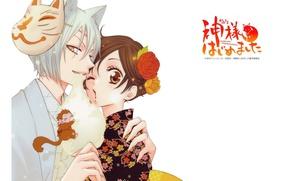Picture mask, white background, kimono, monkey, ears, Kamisaa The Hajimemashita, Tomoe, Very nice God, the demon-Fox, …