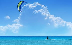 Picture The sky, Clouds, Sea, Kiting, Surfing