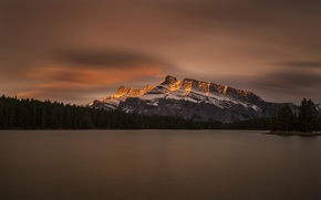 Picture forest, the sky, clouds, reflection, mountains, lake, Canada, Banff national Park, Jack Lake