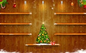 Picture light, snow, tree, tree, new year, texture, shelves, 2014