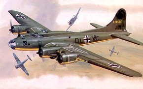 Picture figure, art, Boeing, training flight, B-17, bf-109, Flying fortress, Flying Fortress, captured