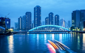 Picture the sky, clouds, bridge, lights, river, blue, skyscrapers, the evening, excerpt, Japan, backlight, Tokyo, twilight, …