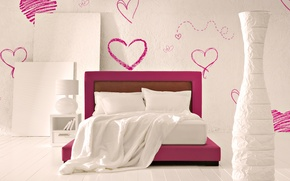 Picture bed, interior, hearts