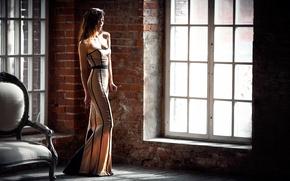 Picture girl, dress, window, Karina Guryeva