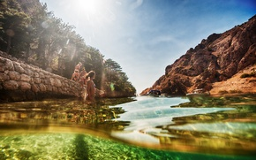 Picture sea, summer, the sun, girls, stay, swim