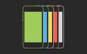 Picture Smartphone, Red, Yellow, Blue, Green, Hi-Tech, Minimalistic, White, Apple, iPhone, Colors