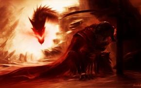 Picture Fantasy, Dragon, Skyrim, Game, Sword, Armor, Dragonslayer, Oilpaint