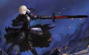Picture look, girl, weapons, sword, armor, gesture, art, fate/stay night, saber age