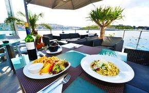 Picture wine, food, the hotel, terrace, pasta, Malta, Sliema