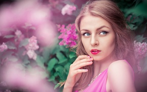 Picture Pink, Girl, Beautiful, Model, View, Lips, Portrait, Karina, Lilac