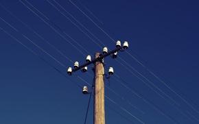 Picture the sky, wire, Telegraph pole