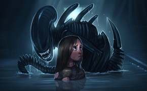Picture water, toy, Others, girl, aliens, xenomorph, James Cameron