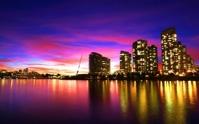 Picture sea, purple, the sky, water, sunset, the city, reflection, Vancouver, cloud