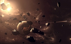 Picture planet, meteorites, the sky, dimensions