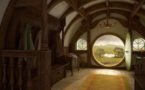 Picture house, interior, Nora, the door, the Lord of the rings, art, the hobbit, lord of …