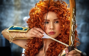 Picture girl, style, hair, bow, Archer, arrow, red, curls, redhead, cosplay, Brave heart, Merida