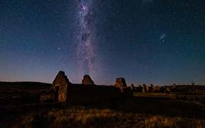 Picture space, stars, ruins, the milky way