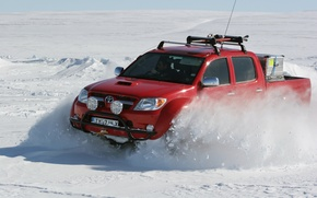 Picture winter, snow, North pole, red, Toyota, north pole, hilux, arctic trucks
