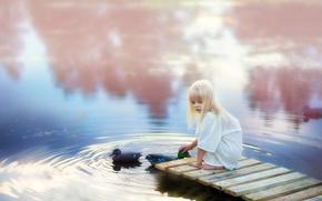 Picture lake, mood, girl