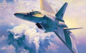 Picture war, art, airplane, painting, jet, Lockheed F 22 Raptor