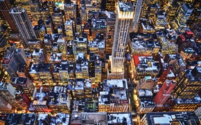 Picture winter, lights, building, skyscrapers, the evening, roof, new York, new york
