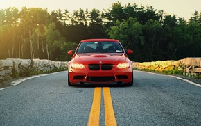 Picture red, lights, bmw, BMW, red, the front, e90, running lights