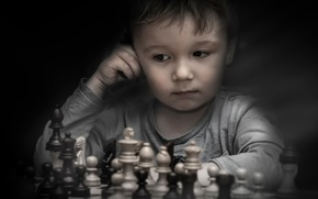Picture boy, chess, figure