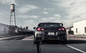 Picture rails, Matt, Nissan, GT-R, black, Nissan, rear