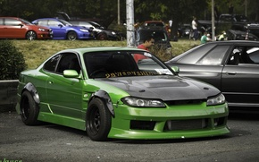 Picture green, nissan, turbo, drift, japan, jdm, tuning, silvia, s15, low, powerr