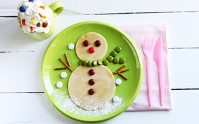 Picture winter, food, cream, plate, candy, Cup, sweets, snowman, drink, dessert