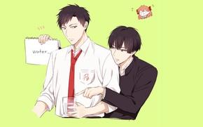Picture anime, art, guys, brothers, The gekka Shoujo Nozaki-kun, Nozaki is the author of shojo manga