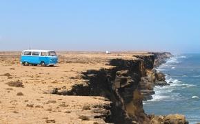 Picture sea, wave, rocks, coast, Volkswagen, Volkswagen Transporter