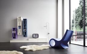Picture white, blue, design, interior, chair, white, design, blue, modern, chair, modern, rug, racks