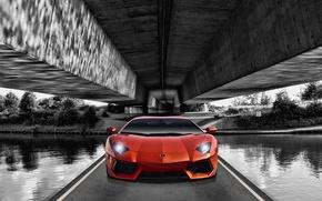 Picture Lamborghini, Orange, Lamborghini, Orange, Front, Supercar, LP700-4, Aventador, The front