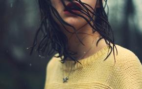 Picture water, background, rain, Wallpaper, mood, hair, brunette, girl, wet