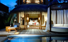 Picture style, sofa, bed, pool, house, house, sunbed, pool, Bungalow, bedroom, exterior., maldiwes