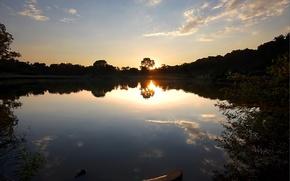 Wallpaper trees, sunset, Lake