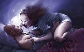 Picture sleep, man, Figure, bed, witch, nurse, nightmare