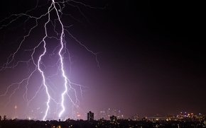 Picture the storm, night, lightning, Australia, Sydney