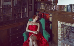 Picture girl, face, room, red, books, makeup, dress, legs, shelves