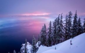 Picture winter, lake, Oregon