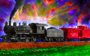 Picture color, background, train, cars