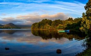 Picture trees, lake, shore, boat, Ireland, Mayo