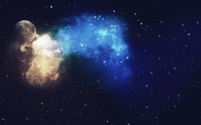 Picture nebula, planet, stars, galaxy