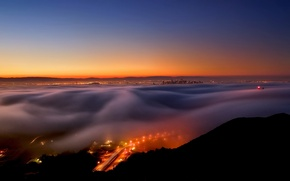 Picture landscape, night, the city, fog
