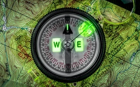 Picture macro, map, arrow, figures, compass